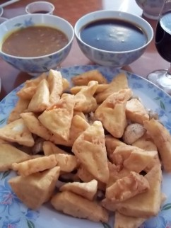 CHINA CAFE FRENCH FRIED TOFU WITH SAUCES
