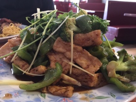 CHINA CAFE TOFU BROCCOLI PEPPERS WITH BOURBOB BLACK PEPPER SAUCE GINGER