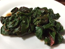 SWISS CHARD WITH SWEET MEAT SAUCE